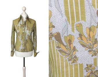 1970er Jahre Bluse | 70er Jahre schlanke Passform Shirt mit Dolch Kragen | Senf und weiß gemusterten Shirt