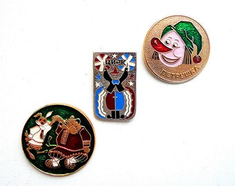 Vintage russian kids badges, retro soviet childrens pins: fairy tale bear and hare pin, circus pin, Petrushka pin