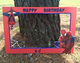Spider-man inspired photo prop frame