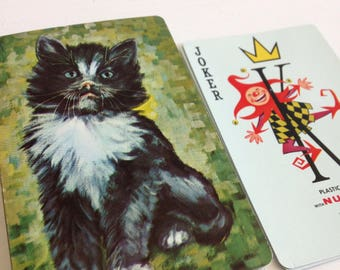 Vintage cat playing cards, old standard playing cards, vintage games, retro cat playing cards, vintage kitty, cat cards, deck of cards