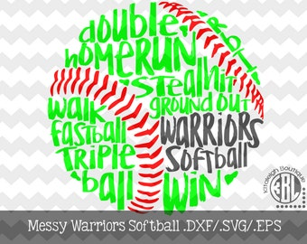 Messy Warriors Softball Files INSTANT DOWNLOAD in dxf/svg/eps for use with programs such as Silhouette Studio and Cricut Design Space