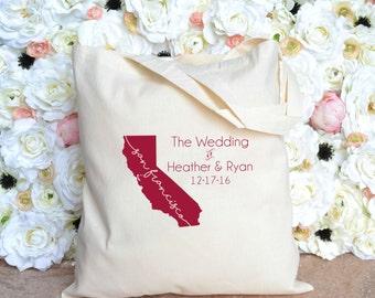 San Francisco California Destination Wedding Welcome Tote - California Wedding Tote - Wedding Favor Tote