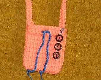 Bohemian Hippie Fashion Jewelry Goddess Totem Pouch Medicine Bag Stash Talisman Necklace Potpourri Sachet - Peach, Hematite-Rounds-and-Beads