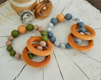 Teether Ring | Wooden Rattle | Baby Toy | Handmade | Teething Ring | Teething Accessories | Chew Beads | Baby Accessories | Baby Gift