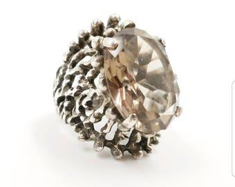 Vintage Signed PANETTA Brutalist Sterling Smokey Quartz Ring, Modernist Silver Ring High Profile Size 7, RARE Designer Sterling Jewelry