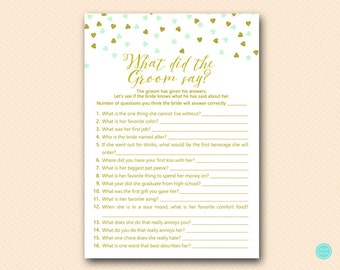 Mint Gold Bridal Shower Games, What did the Groom Say, What did he say about her, Newlywed Game, Bridal Shower Game, Games Download BS488