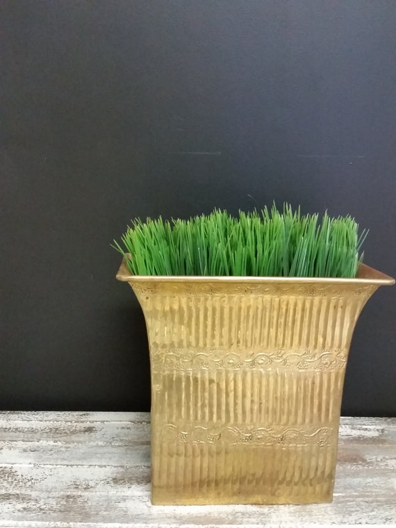 Vintage Brass Planter Embossed Tall Rectangular Narrow Flared Top Brass Bucket Planter