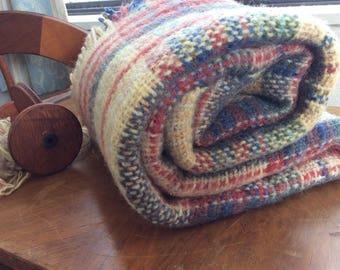 "Handwoven Wool Knee Rug Throw Blanket , Shawl, Wrap, desert  sand  colors, 58"" x 38"" plus fringes"
