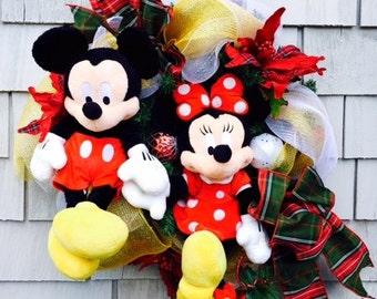 Mickey and Minnie Wreath, Disney Wreath Mickey Mouse Wreath Christmas  Wreath SALE Ready To Ship