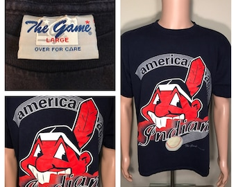 Cleveland Indians tshirt // Big logo Cleveland Indians shirt // Vintage 90s Indians // adult size large //The game // chief wahoo