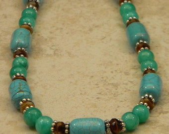 Turquoise-Look Howlite and Green Quartzite OOAK Beaded Necklace