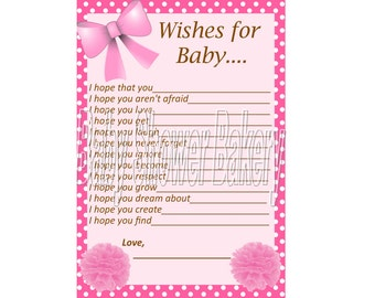 Pink Wishes for Baby Card, Baby Girl Wishes for Baby, Pink Baby Shower Game, Printable Baby Girl Shower Game, Instant Download Baby Wishes