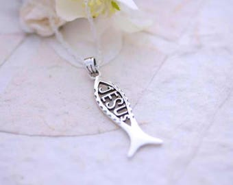 Sterling Silver Jesus Ichthys Necklace, Christian fish symbol necklace Sterling silver chain of your choice, Silver Jesus Ichthus necklace