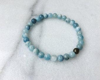 Aquamarine and Pyrite Crystal Stretch Bracelet