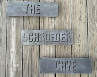 3 Piece Set Custom Metal Signs - Personalized with Your Text