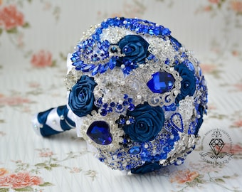 Royal blue bouquet, Silver bouquet, Navy blue bouquet, Brooch Bouquet, Wedding bouquet, Royal blue wedding, Navy blue wedding, Wedding