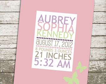 Custom Baby Girl Nursery Wall Art - 8x10 Gift Print - Personalized Birth Statistics