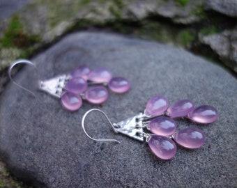 Chalcedony Drop Earrings, Sterling Silver, Lavender Chalcedony