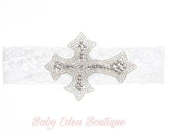 Baptism headband/ crystal cross headband/ christening headband / silver cross