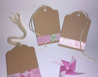 (Set of 10) - natural - pink and Kraft gift tag
