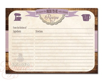 Recipe Card Bridal Shower Rustic Purple 5x7 4x6 3.5x5 DIY Printable or Printed Fill-In Recipe Card Vintage Wood Lace - Tracey Style