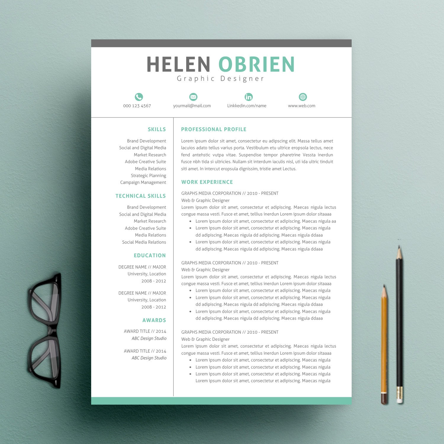zoom Professional Resume Template CV Template Cover