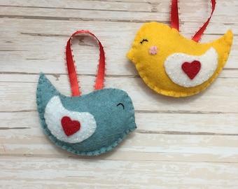 Pair of handmade felt Love Bird ornaments