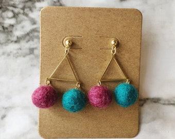 RESERVED Triangle + wool pom pom earrings