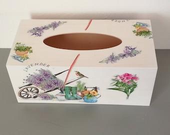 Decorated wooden tissue box by hand, pattern wheelbarrow, bird, flower, gardening