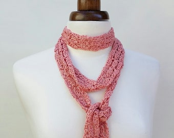 Long skinny scarf in coral pink, narrow crochet scarf, women's scarf, evening scarf, summer accessory
