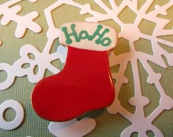 Red Santa Stocking Porcelain Pin Christmas Jewelry