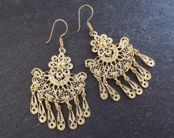 Fan Shaped Telkari Dangly Gold Ethnic Boho Earrings - Authentic Turkish Style