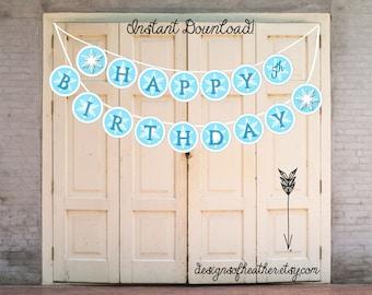 Winter Snowflake Digital Birthday Party Banner