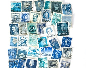 36 x blue, used postage stamps from 19 different countries, all off paper for collage, stamp collecting, crafting and scrapbooking