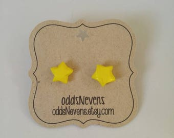Yellow Origami Star Stud Earrings