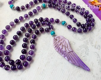 Archangel Jeremiel Mala Beads | Amethyst Prayer Beads | Angel Wing Mala Necklace |  Angel Jewelry