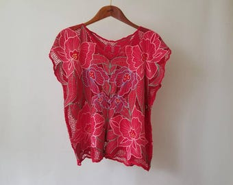 Vintage Crochet Flower Top // Boho Top