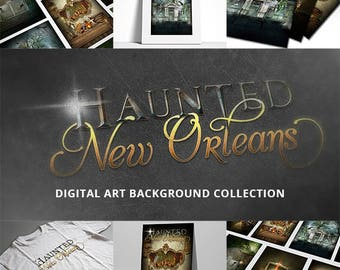 Haunted New Orleans Digital Artwork Background Collection