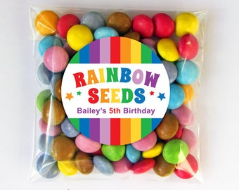 Personalized Rainbow Seeds Party Favour Tags or Stickers – 2, 2.5 or 3 Inch Circle – DIY Printable (Digital File)