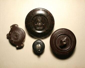 Vintage bakelite electrical socket and 3 switches, Old Bakelite Switch,  Light Switch, Electrical Switch, on off switch, electrical outlet