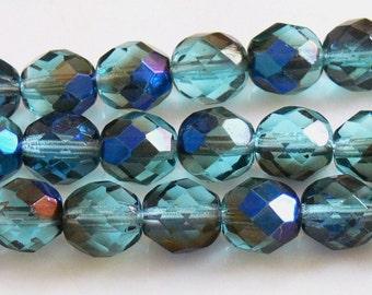 Aqua Azuro Fire Polished Czech Glass beads 8mm 20