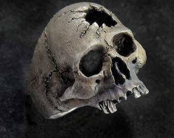 Skull Ring, Hammer Hole, Half Jaw, Mens Silver Skull Ring, Biker ring, Rocker ring, Goth ring, Custom Sterling Silver Skull Ring,.925
