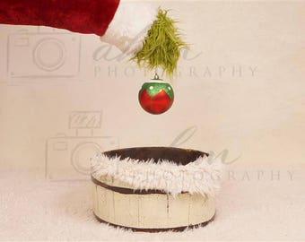 DIGITAL Newborn Backdrop Christmas Grinch Santa. One of a kind prop!