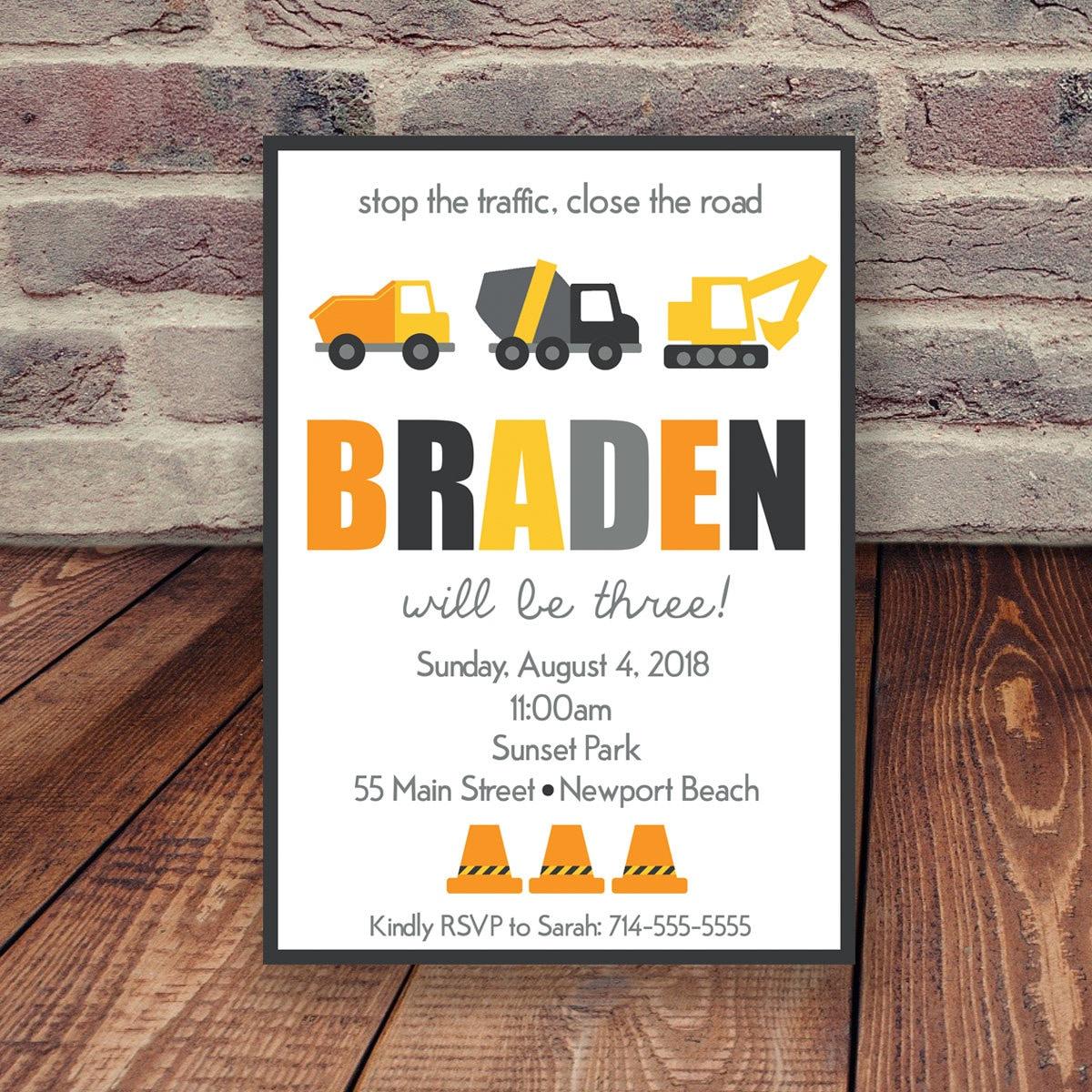 Construction Birthday Invitation Truck Bday Party Invite