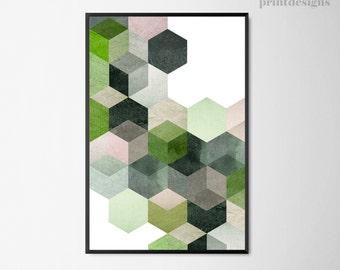 Geometric Printable Poster, Hexagon Print, Green Geometric Art, Abstract Poster, Modern Wall Art, Digital Print, Modern Art Instant Download