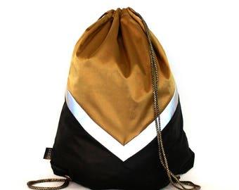 Black Gold  waterproof drawstring bag backpack reflective tape Biking bag Unique designed