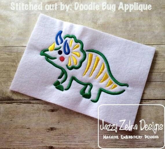 Dinosaur 6 Satin Stitch Outline Embroidery Design - Dino embroidery design - dinosaur embroidery design