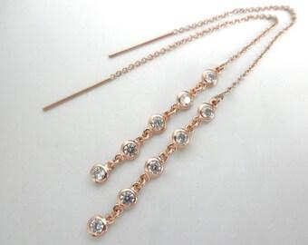 CZ rose gold threader earrings - 14K gold-filled ear thread - long cz ear thread earrings- rose gold chain earrings