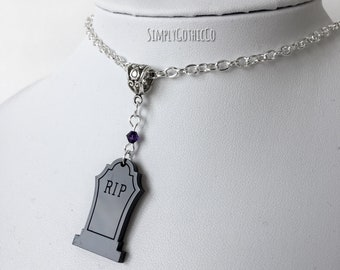 Gothic Black Tombstone Necklace