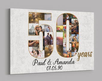 50th Anniversary Gifts Custom Collage Photo Canvas Personalized Wall Art Wedding Anniversary Gift 50 Years Married Gift Wife Husband Present